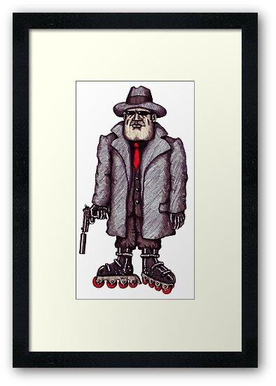 Hitman on Rollerblades pen ink drawing by Vitaliy Gonikman