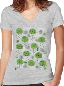 Green Nature Women's Fitted V-Neck T-Shirt