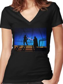 STAR WARS! Luke vs Darth Vader  Women's Fitted V-Neck T-Shirt