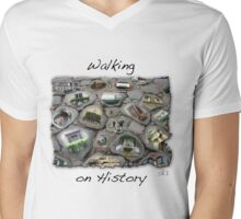 Walking on history Mens V-Neck T-Shirt