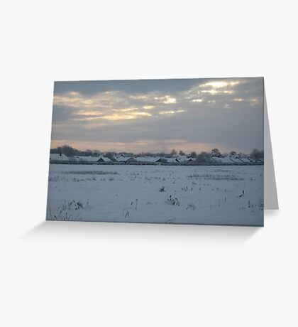 Snowy Lincolnshire Fields Greeting Card
