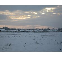 Snowy Lincolnshire Fields Photographic Print