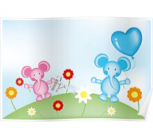 Happy elephants illustration for kids Poster