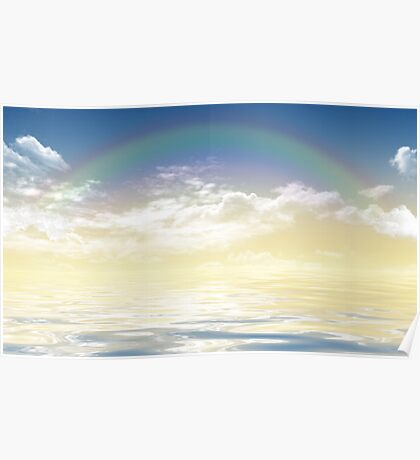 Rainbow over the sea Poster