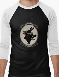 Alice in Wonderland White Rabbit Oval Portrait Men's Baseball ¾ T-Shirt