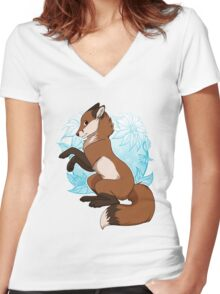 Red Fox Tee - Blue Women's Fitted V-Neck T-Shirt
