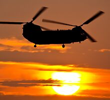 RAF Chinook sunset 2 by JonCoombes