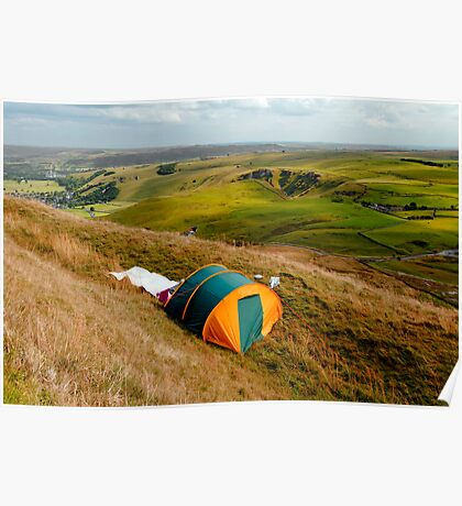 Tent Sited Near Summit of Mam Tor Poster