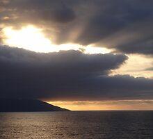 Sunset behind clouds by Bernhard Matejka