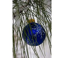 Blue Ornament in Snow Photographic Print