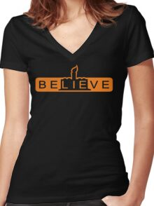 beLIEve orange Women's Fitted V-Neck T-Shirt