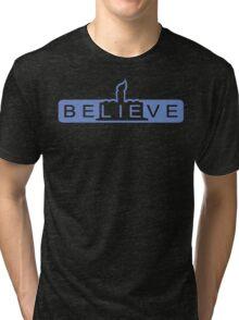 beLIEve blue Tri-blend T-Shirt