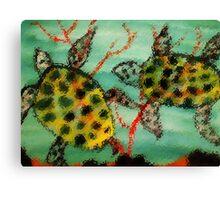 Adult Sea Turtles, watercolor Canvas Print
