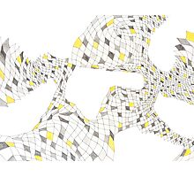 Geometric landscape silver & yellow drawing Photographic Print