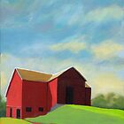 Old Red Barn - oil painting Ohio countryside by LindaAppleArt