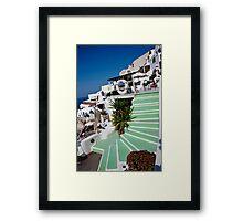 White Trimmed, Green Steps Framed Print