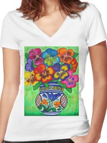 Pansy Parade Women's Fitted V-Neck T-Shirt