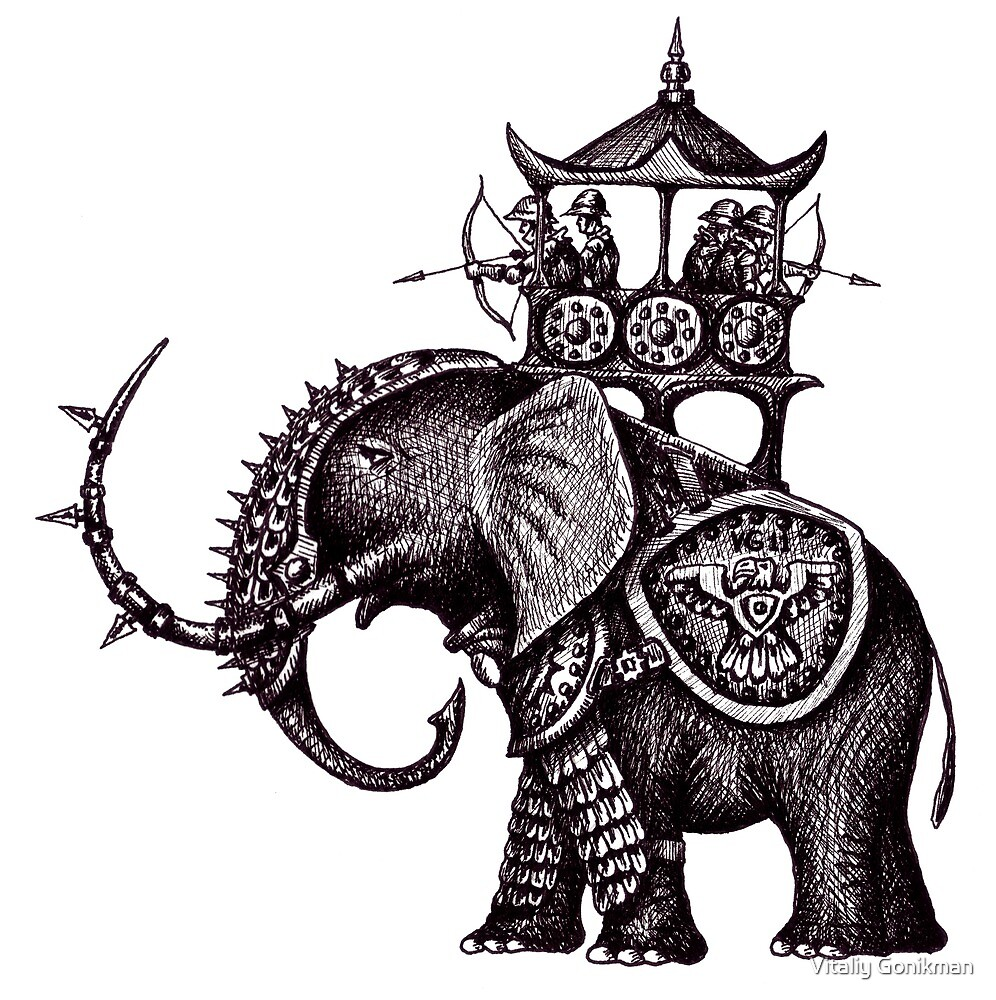 War Elephant black and white pen ink drawing by Vitaliy Gonikman