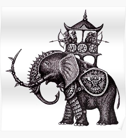 War Elephant black and white pen ink drawing Poster