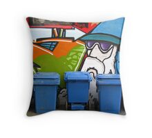 Melbourne - Street art and blue bins Throw Pillow