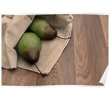 Rustic Cloth Bag with a Harvest of Fresh Pears Poster