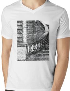 Black and White Staircase Mens V-Neck T-Shirt