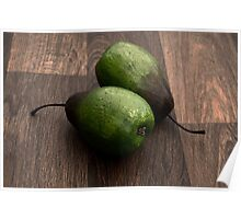 Pair of Fresh Pears on a Rustic Wooden Kitchen Table Poster