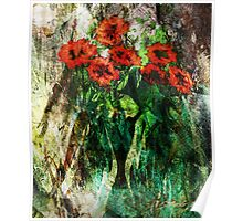 Vase with red flowers Poster