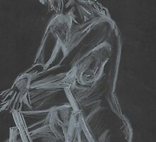 Sitting Nude- Black and White- Pencil by Kyleacharisse