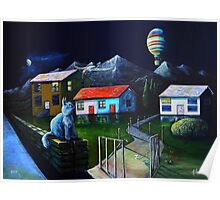 Blue Cat and Floating Gate Poster