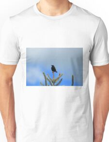 Red Winged Blackbird on a Spruce Tree Unisex T-Shirt