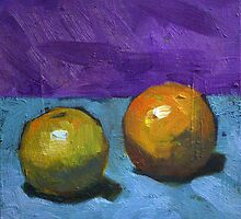 oranges on purple by Les Castellanos