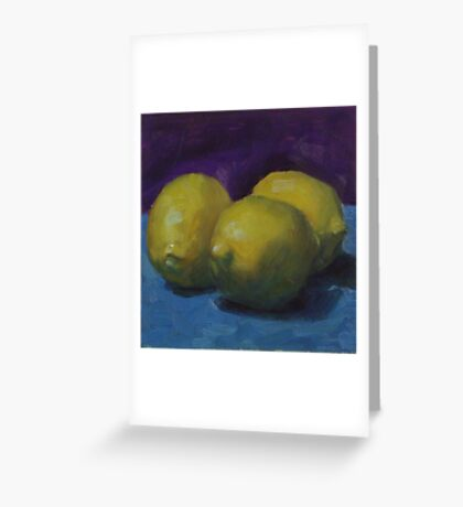 Lemons on Blue Greeting Card