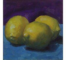 Lemons on Blue Photographic Print