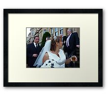 The Vicar, The Bride And A Relieved Groom Framed Print