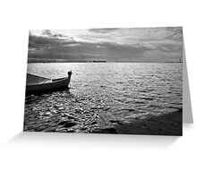BOAT SEA SUNLIGHT AND HARBOR VINTAGE RETRO Greeting Card