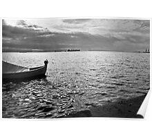 BOAT SEA SUNLIGHT AND HARBOR VINTAGE RETRO Poster