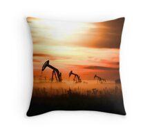Sunset Pump Jacks Throw Pillow