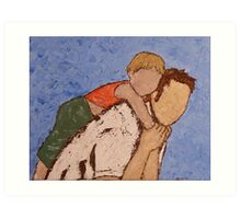 Atlas - lifting the world, his child, on his shoulders. Art Print