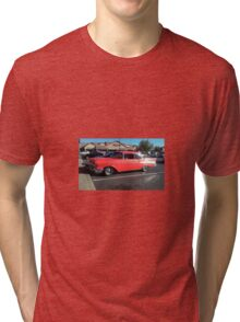 '57 Chevy Bel-Air in front of business named Bel Air!  Tri-blend T-Shirt