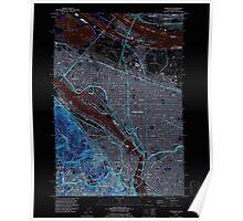 USGS Topo Map Oregon OR Portland 281137 1990 24000 Inverted Poster