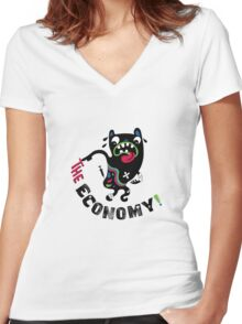Bad Economy Women's Fitted V-Neck T-Shirt