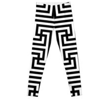 Geometric Swastika Pattern 4 - Black Leggings