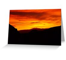 Flaming sunset over the Valle de la Luna, Chile Greeting Card