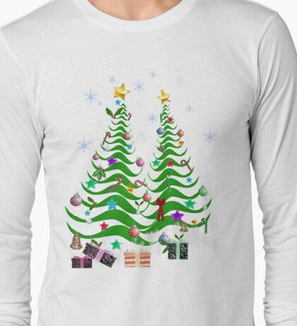 Artsy Christmas Tree and Decorations-2 Long Sleeve T-Shirt