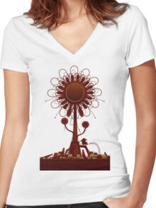 Vector Doodle 34 Women's Fitted V-Neck T-Shirt