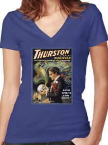 Thurston the great magician 1915 Vintage Poster Women's Fitted V-Neck T-Shirt