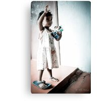 one shoe on, one shoe off Canvas Print