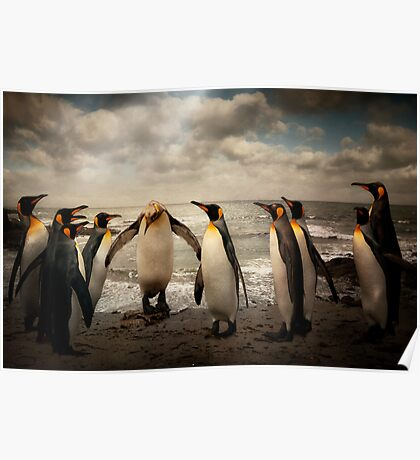 Penguins at the beach Poster