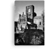 Kirkstall Abbey in Mono Canvas Print